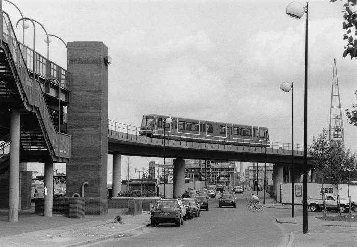 The Docklands Light Railway under construction, July 1987
