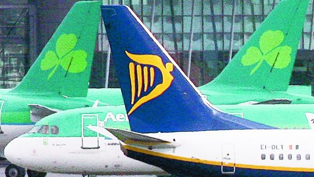 Loser: Ryanair and Aer Lingus both saw their revenues plummet due to the pandemic. Photograph: Niall Carson/PA Wire