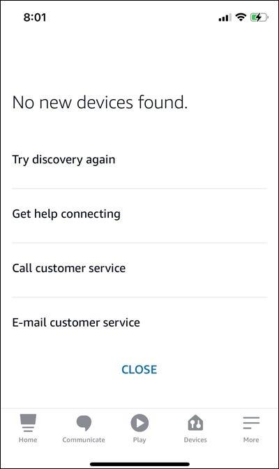 Alexa no devices found