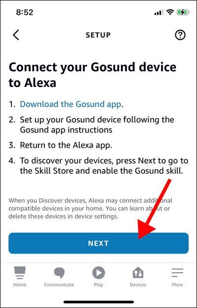 Smart plug setup page in Alexa app