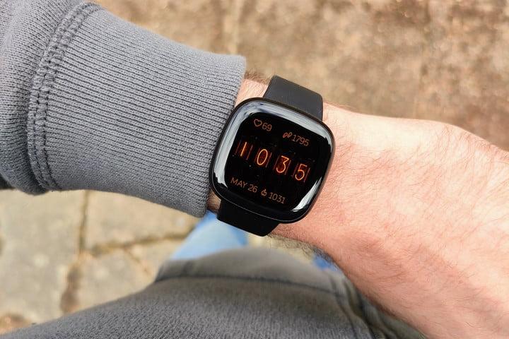 Fitbit Versa 3 smartwatch on wrist
