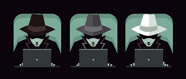 Illustration of three hackers with black, grey, and white hats.