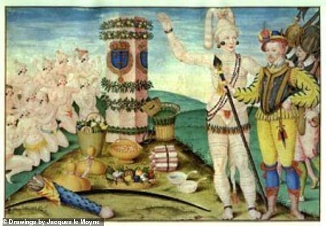 A 16th century painting by Jacques le Moyne depicting Huguenot explorer Rene Goulaine de Laudonnière (far right) witha Timucuan leader. The Mocama-speaking Timucua were among the first indigenous populations encountered by European explorers in the 1560s