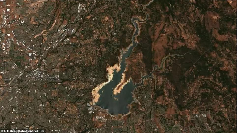 Today, the lake's shoreline extends much father into the center due to lower water leveels