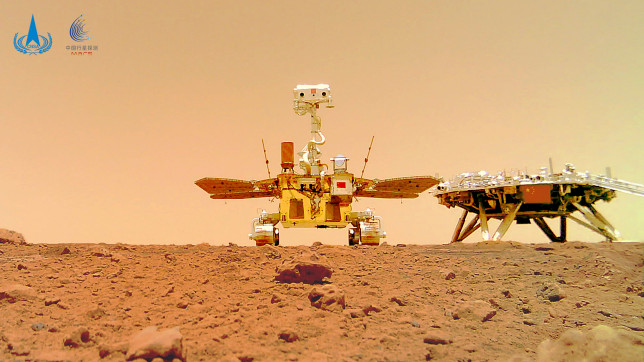 This photo of China's Mars rover Zhurong was taken by a remote camera that was dropped into position by the rover. (Credit: CNSA/AP)