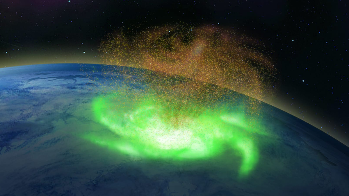 An illustration of a space hurricane over Earth.