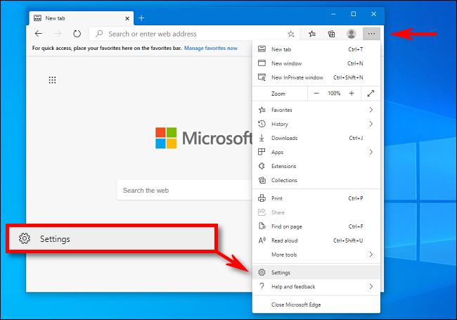 Click Settings in Microsoft Edge