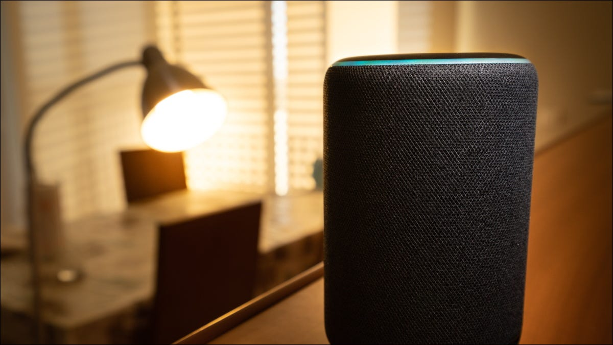 An Amazon Echo Plus in front of a floor lamp.
