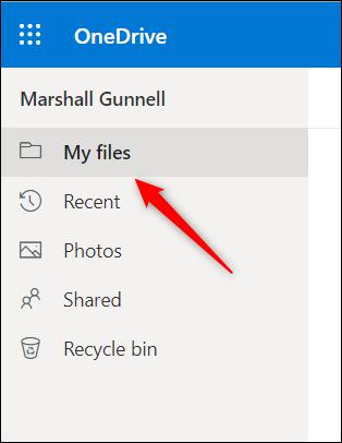 My Files tab in OneDrive