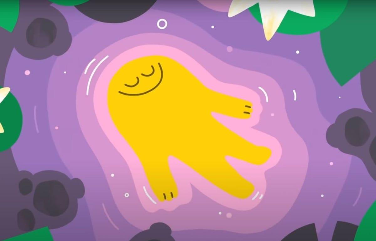 A yellow human-shaped figure lying on a purple pond.