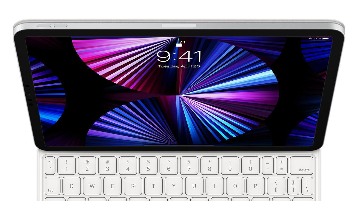 The iPad Pro with a white Magic Keyboard case.