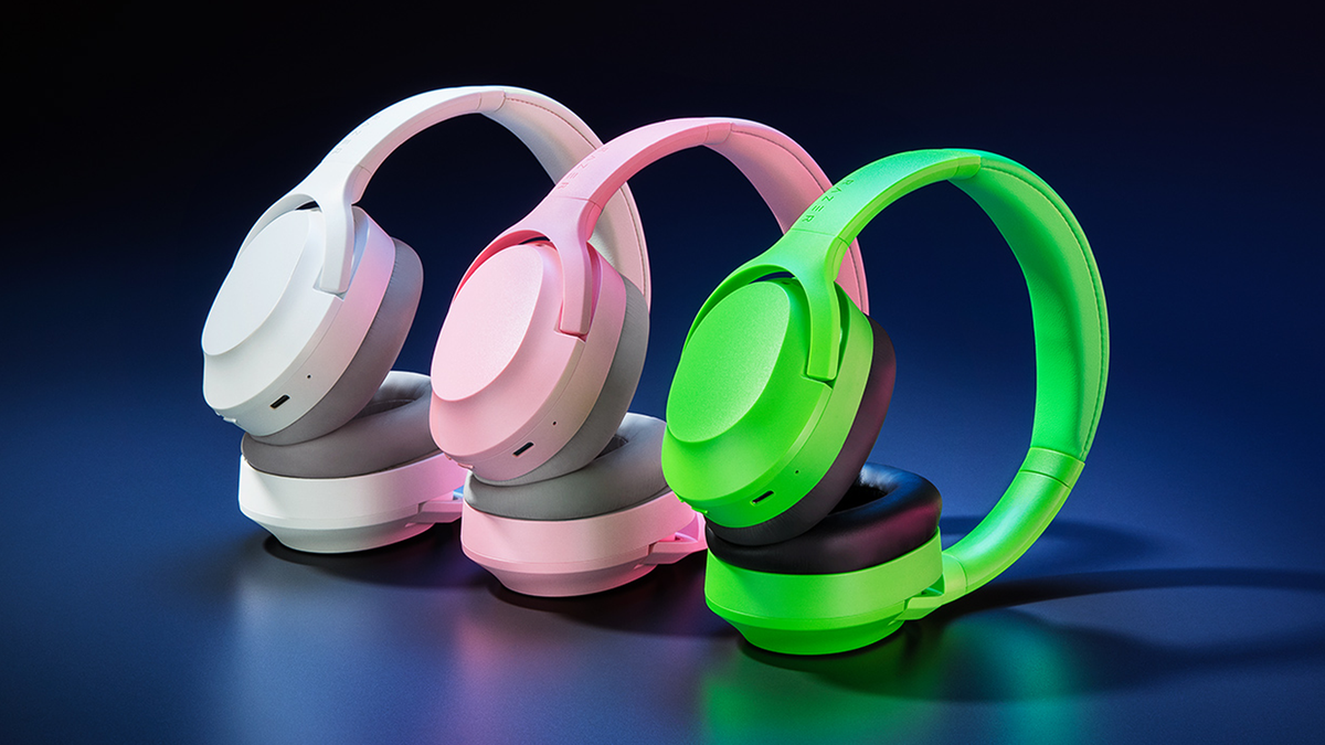 Razer Opus X headset in white, pink, and green