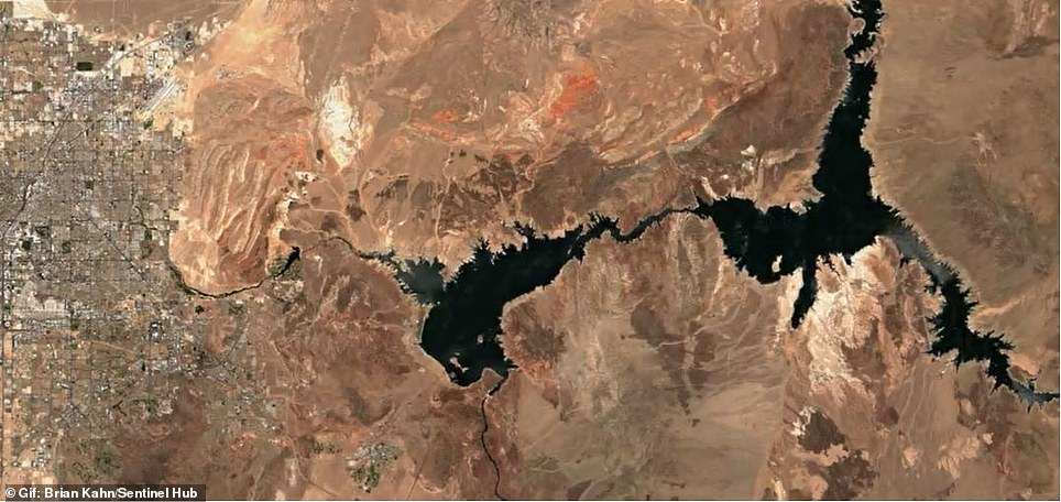 Lake Mead is currently making headlines after officials announced it met its lowest level on record, which puts millions under emergency rations. Satellite picture from 2020