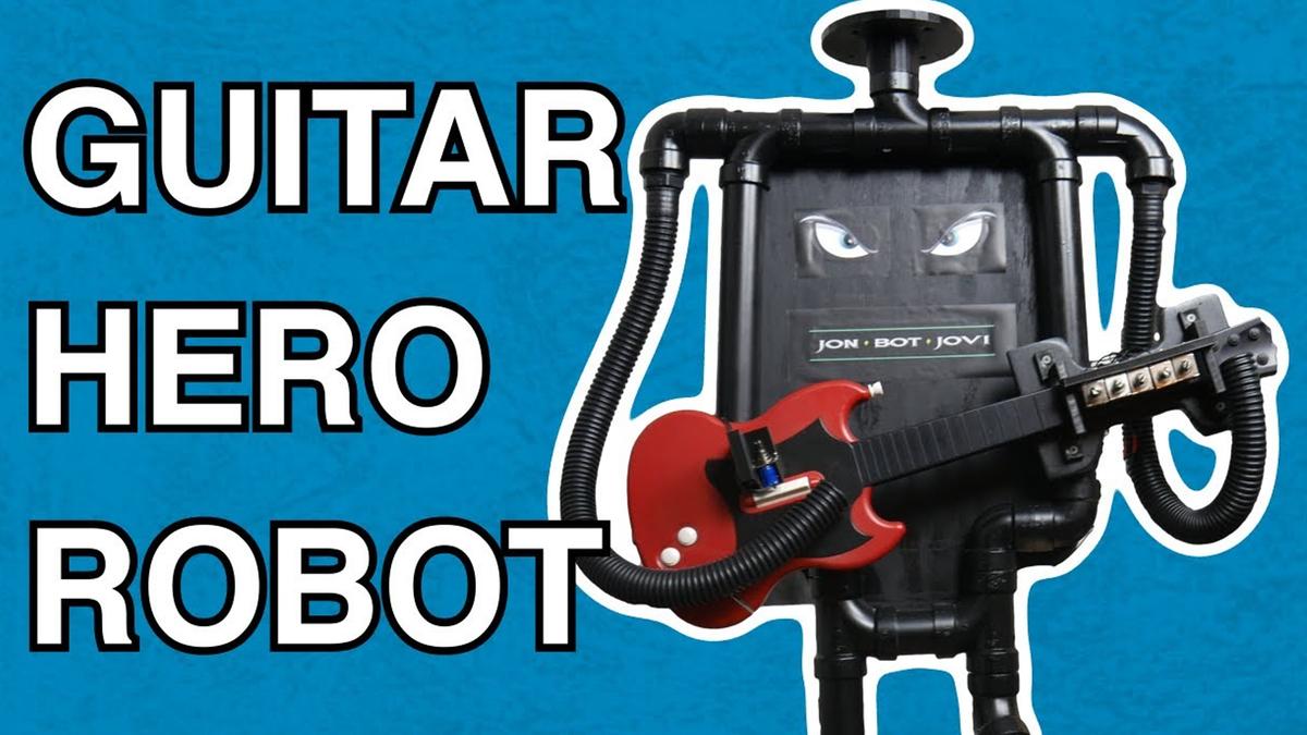 The Jon Bot Jovi guitar playing robot in action.