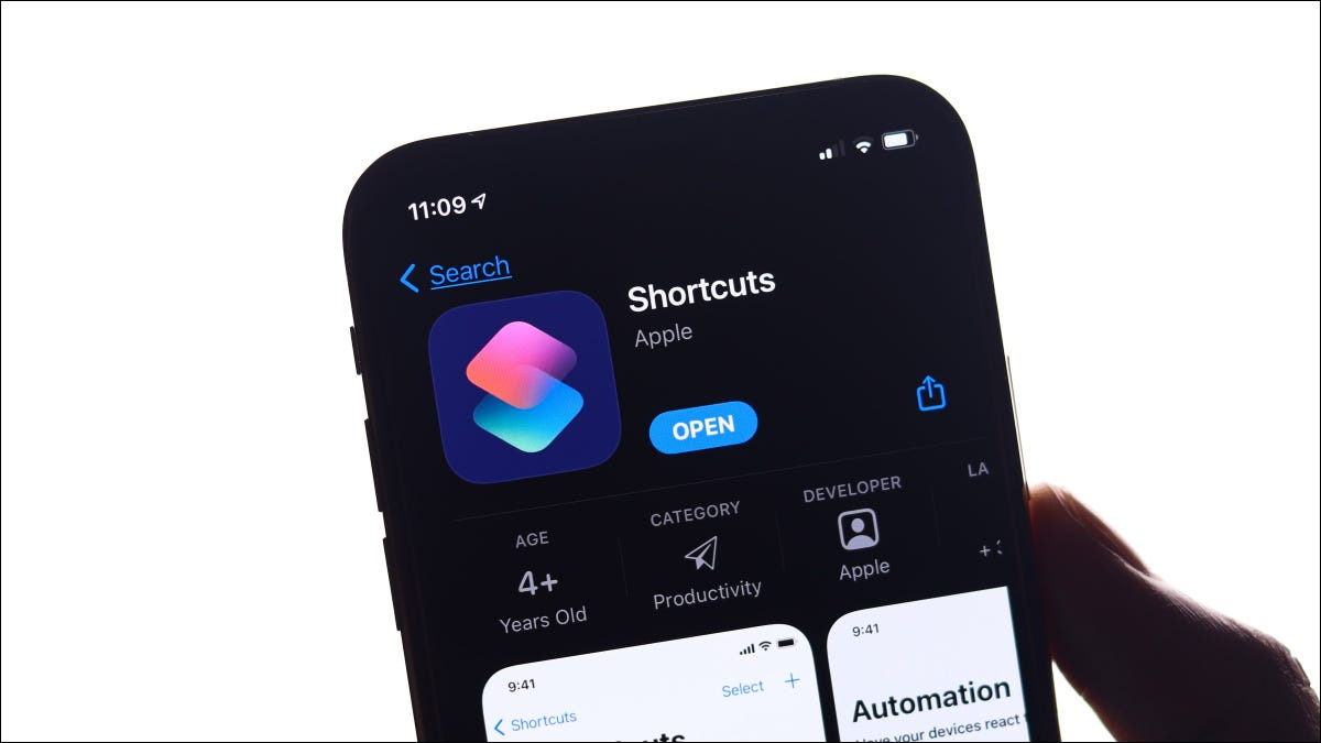 The Shortcuts app in the App Store on an iPhone.