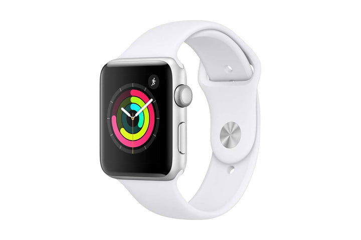 The Apple Watch Series 3 with the Activity Rings on the screen.
