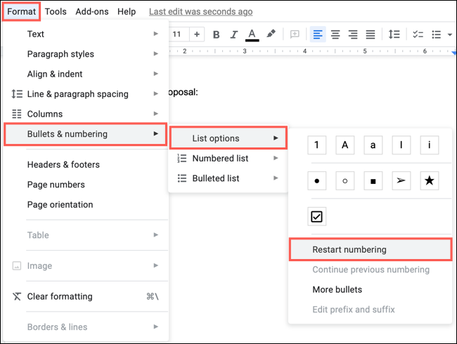 Click Format, Bullets and Number, List Options, Restart Numbering