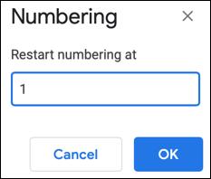 Enter a restart number for a list