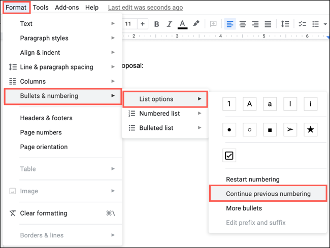Click Format, Bullets and Number, List Options, Continue Previous Numbering
