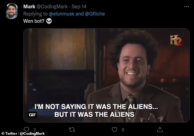 The US Congress' plans for a dedicated office in the Office of the Secretary of Defense to investigate UFO sightings comes in the form of a bill to authorize Department of Defense appropriations for the 2022 fiscal year. Pictured: a meme posted after Mr Musk's tweet