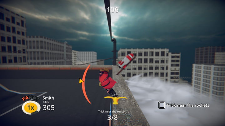 Griding across a rooftop in Skatebird.
