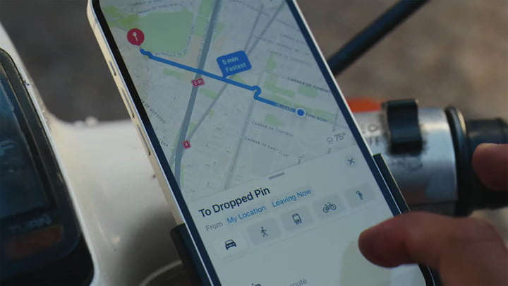 iPhone 13 with maps app.