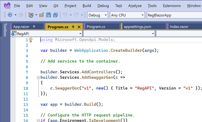 Tabs in Visual Studio 2022 can be coloured by project
