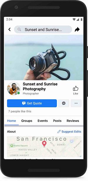 Facebook 'Get Quote' button