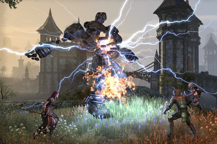 Group engaging in PvE combat in ESO.
