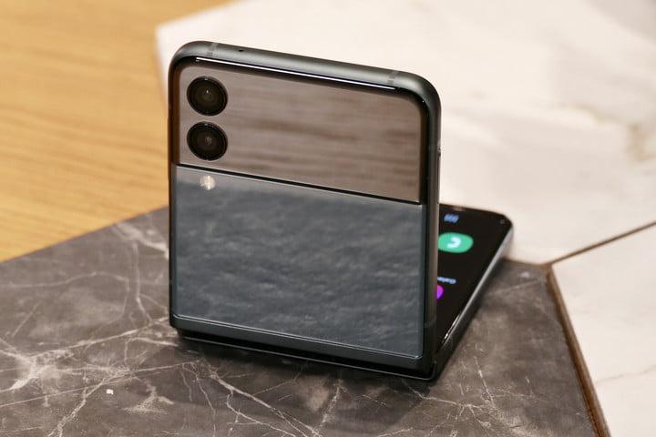 Galaxy Z Flip 3 camera module seen from the back.