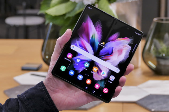 Open Galaxy Z Fold 3 seen from the front.