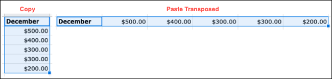 Example of Paste Transposed