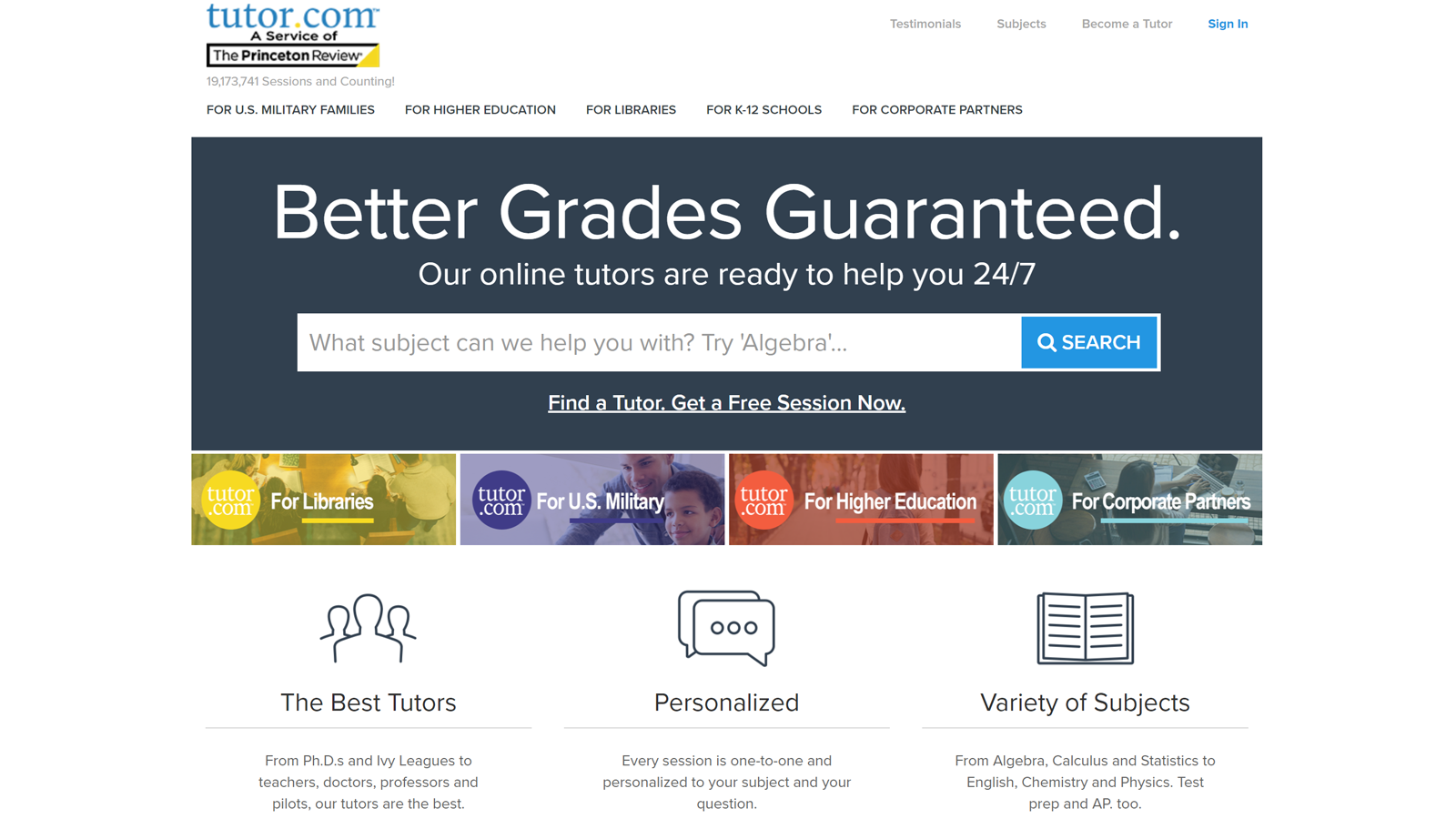 Tutor.com home page with subject and tutor options
