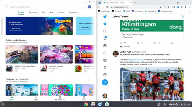 Chrome OS in split screen.
