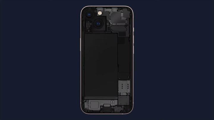A look inside an iPhone 13.