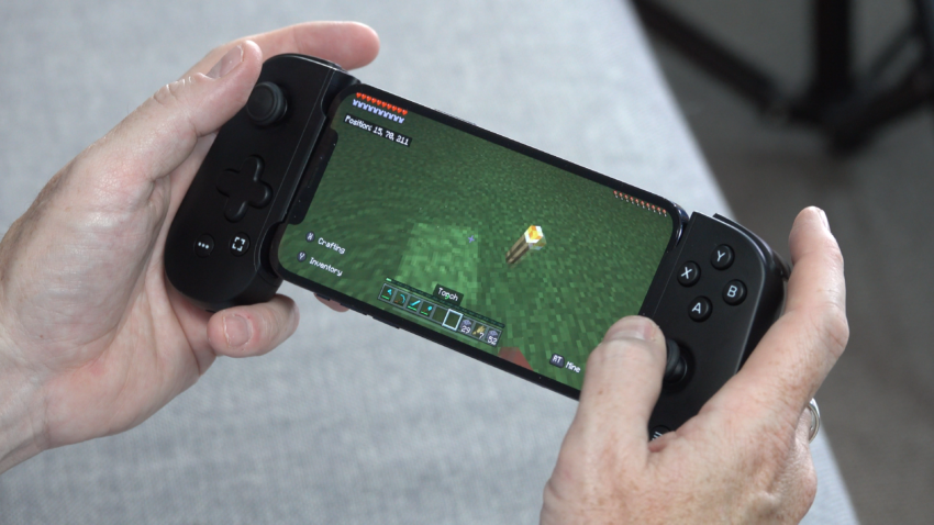 Backbone One controller on iPhone playing Minecraft