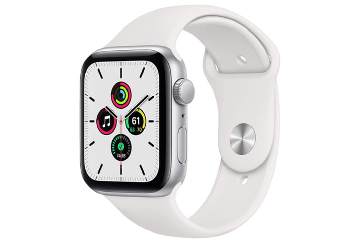 The Apple Watch SE with a few apps visible on the display.