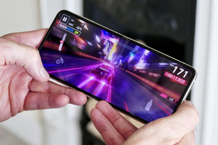 Asphalt 9: Legends played on the Galaxy Z Flip 3.