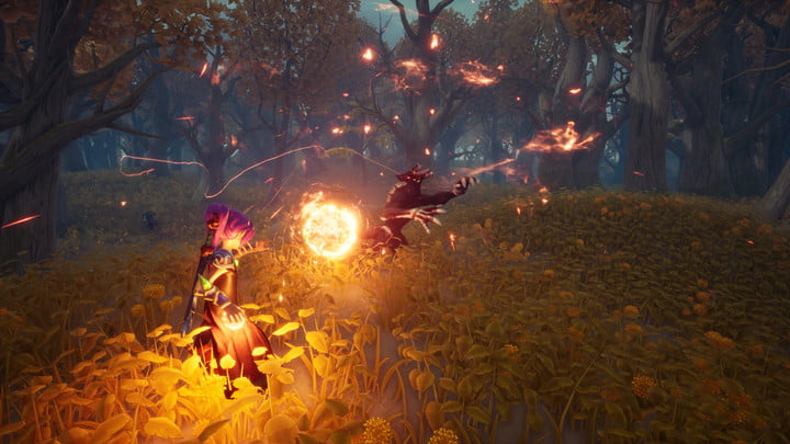 A battle of magic in the forest.