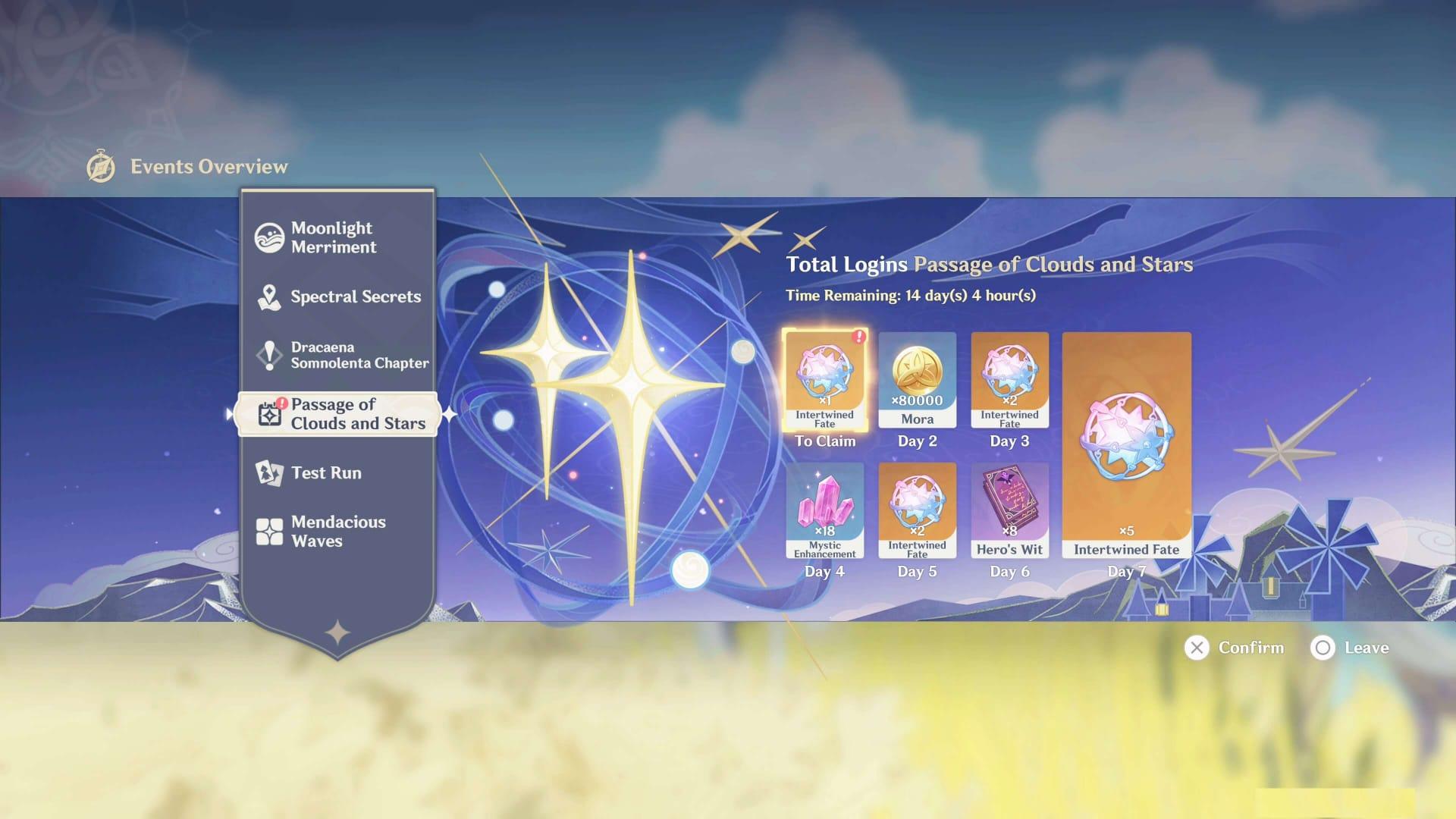 Genshin Impact Passage of Clouds and Stars Rewards