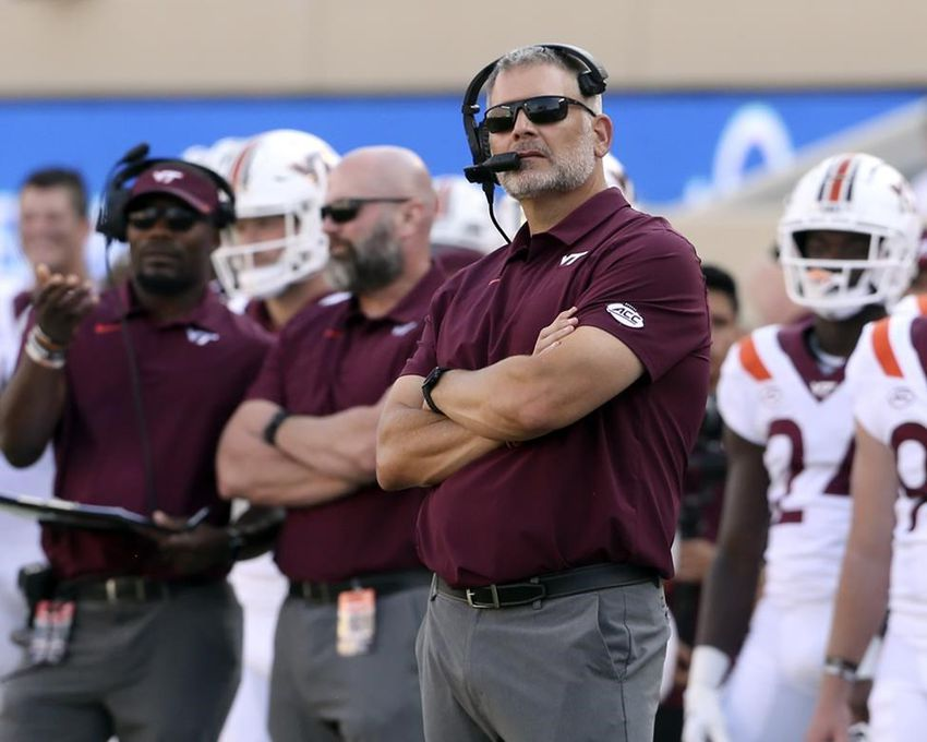 Virginia Tech head coach Justin Fuentes stands on the sideline in the second half of an NCAA college football game against Middle Tennessee, Saturday, Sept. 11, 2021, in Blacksburg Va.