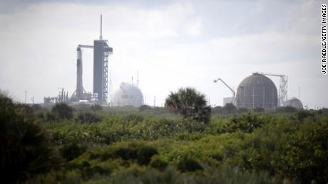 The SpaceX Falcon 9 rocket and Crew Dragon sit on launch Pad 39A at NASA's Kennedy Space Center on September 14, 2021 in Cape Canaveral, Florida.