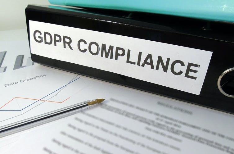 folder labelled GENERAL DATA PROTECTION REGULATION on cluttered desk