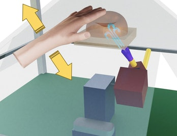Pushing a button allows the user to feel pressure which feels like touch.