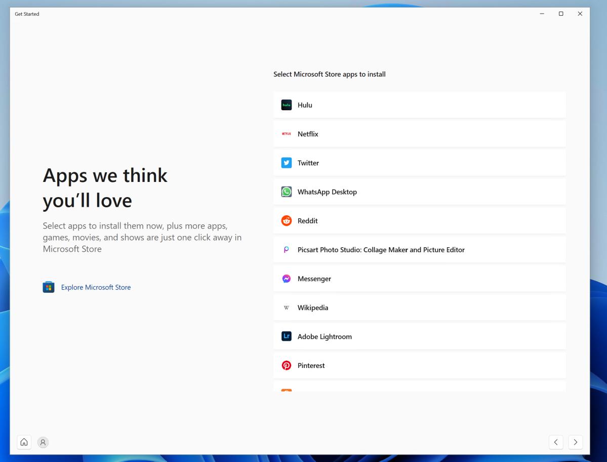 Windows 11 OOBE Get Started apps