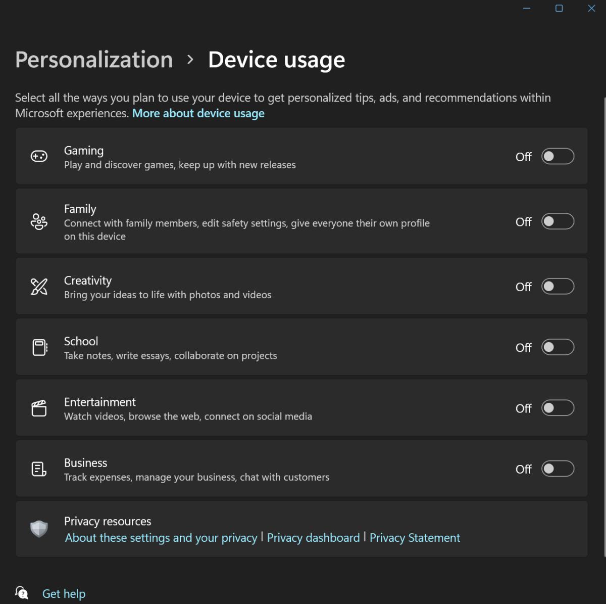 Windows 11 Settings Device usage