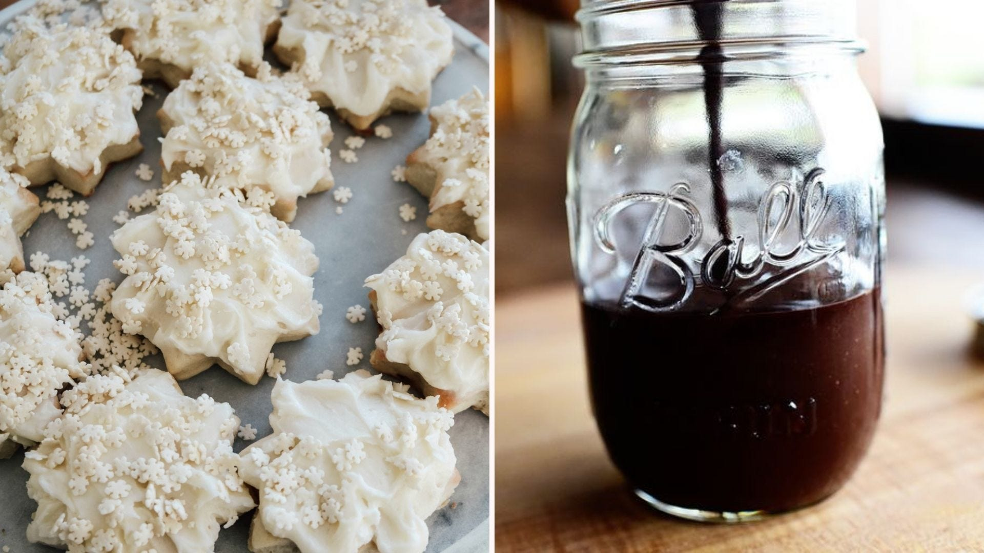 A tray of snowflake-shaped sugar cookies; a half-filled glass jar of fudge sauce