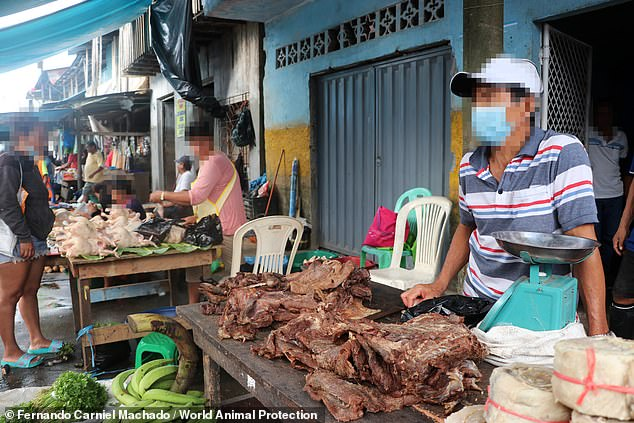 Some animals are slaughtered at the market, with meat put up for sale for people to buy