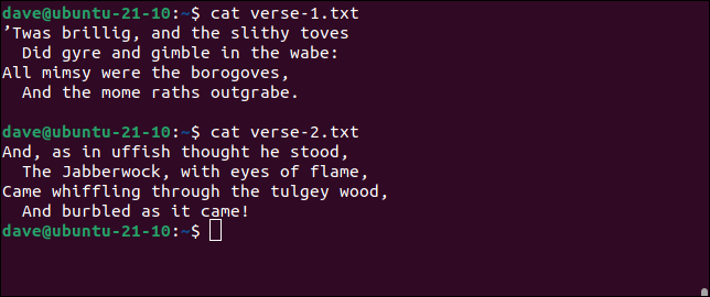 using cat to display file contents