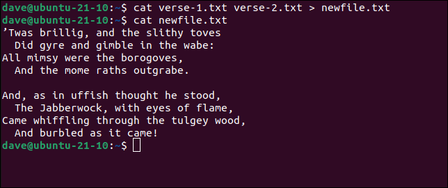 Using cat to add two files into a new file